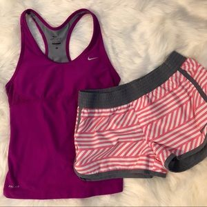 Nike Purple Racerback Tank and Pink Gray Shorts